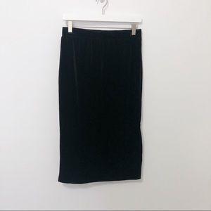 Halogen Skirts - Halogen Black Velvet Pencil Skirt with Side Slit